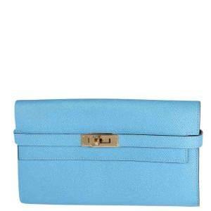 Hermes Blue Epsom Leather Kelly Wallet