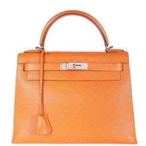 Hermes Orange Chevre Leather Sellier Kelly 28 Bag
