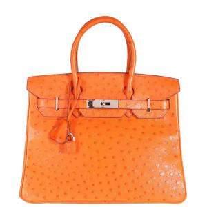 Hermes Tangerine Ostrich Leather Birkin 30 Bag