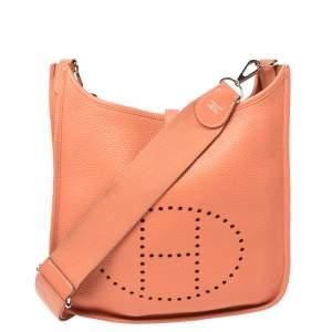 Hermes Rose Tea Taurillon Clemence Leather Evelyne III PM Bag