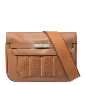 Hermes Gold Swift Leather Palladium Hardware Berline 29 Bag
