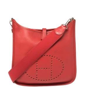 Hermes Rouge Vif Togo Leather Evelyne I PM Bag