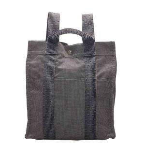 Hermes Grey Canvas Herline Canvas Backpack