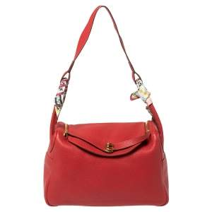 Hermes Rouge Vif Clemence Leather Gold Hardware Lindy 34 Bag