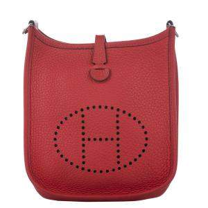 Hermes Red Clemence Leather Evelyne I TPM Bag