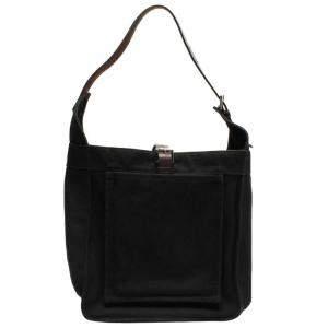 Hermes Black Toile Canvas Marwari PM Hobo Bag