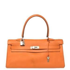 Hermes Orange Taurillon Clemence Leather Palladium Hardware Shoulder Kelly 42 Bag