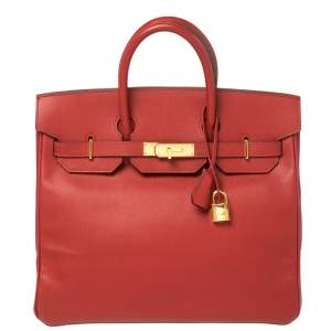 Hermes Rouge Vif Epsom Leather Gold Hardware HAC Birkin 32 Bag
