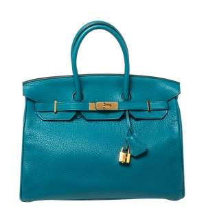 Hermes Cobalt Taurillion Clemence Leather Gold Hardware Birkin 35 Bag