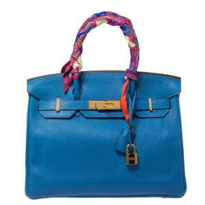 Hermes Blue Birkin	Izmir Clemence Leather Gold Hardware Birkin 30 Bag with Twilly