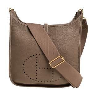 Hermes Taupe Grey Togo Leather Evelyne III PM Bag