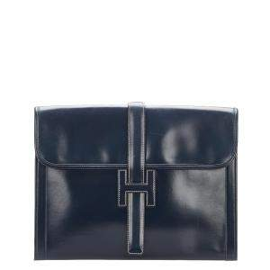 Hermes Black Box Leather Jige GM Clutch