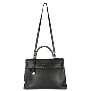 Hermes Black Clemence Leather Kelly Retourne 35 Bag