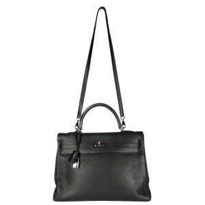 Hermes Black Clemence Leather Kelly Retourne 35 Bag