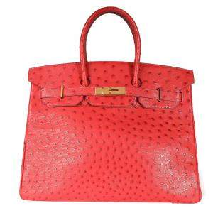 Hermes Rouge Ostrich Leather Gold Hardware Birkin 35 Bag