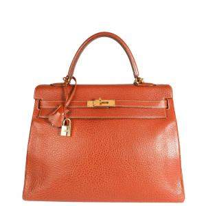 Hermes Etrusque Buffalo Leather Gold Hardware Retourne Kelly 35 Bag