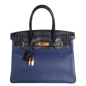 Hermes Blue Marine Alligator Gold Hardware Novillo Birkin 30 Bag