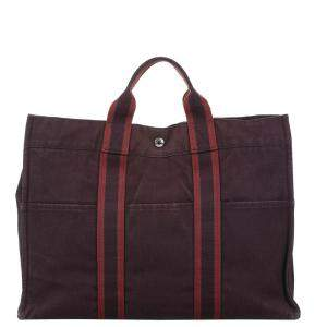 Hermes Red Canvas Fourre Tout MM bag