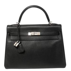 Hermés Noir Togo Leather Palladium Hardware Kelly Retourne 32 Bag