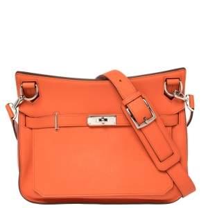 Hermes Orange Poppy Swift Leather Palladium Hardware Jypsiere 28 Bag