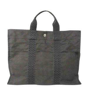 Hermes Black Canvas Herline Tote Bag
