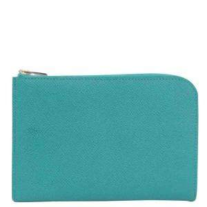 Hermes Green/Blue Epsom Leather Wallet