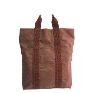 Hermes Brown Canvas Herline Tote Bag