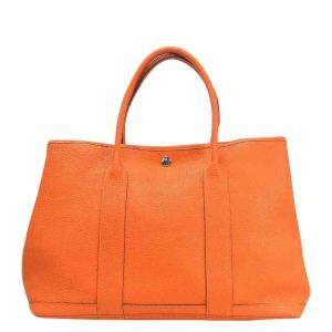 Hermes Orange Negonda Leather Garden Party PM Tote Bag