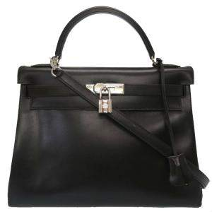 Hermes Black Box Leather Kelly Retourne 32 Bag