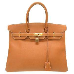 Hermes Brown Ardennes Leather Birkin 35 Bag
