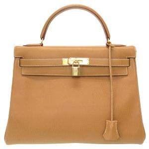 Hermes Brown Ardennes Leather Kelly Retourne 32 Bag