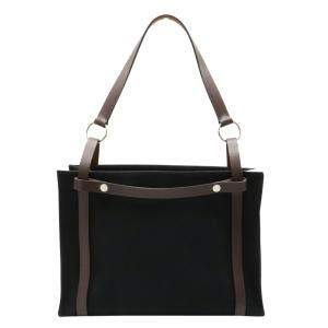 Hermes Black/Brown Canvas Leather Tote Bag