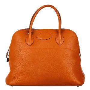 Hermes Orange Clemence Leather Bolide 35 Bag
