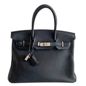 Hermès Black Taurillon Clemence Birkin 30 Bag