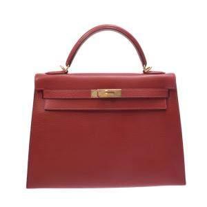 Hermes Red Ardennes Leather Gold Hardware Kelly 32 Bag