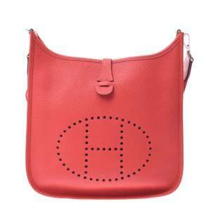 Hermes Red Leather Evelyne III Shoulder Bag
