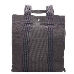 Hermes Grey Canvas Herline Backpack