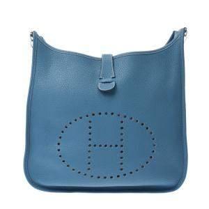 Hermes Blue Leather Evelyne III GM Shoulder Bag