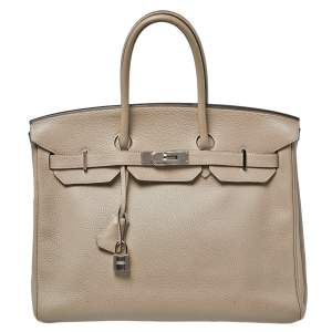 Hermes Gris Tourterelle Togo Leather Palladium Hardware Birkin 35 Bag