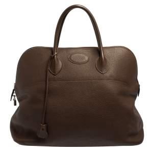 Hermès Cacao Togo Leather Bolide 45 Bag