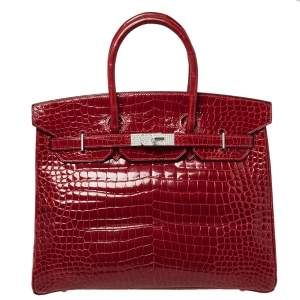 Hermès Rouge Braise Porosus Crocodile 18K White Gold Encrusted Diamond Birkin 35 Bag