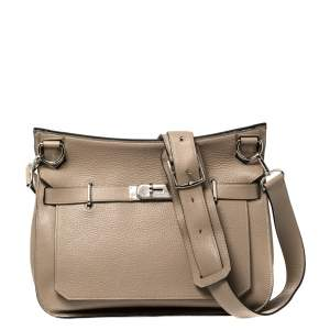 Hermes Gris Tourterelle Taurillon Clemence Leather Palladium Hardware Jypsiere 34 Bag