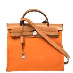 Hermes Orange/Natural Canvas and Leather Herbag Zip 31 Bag