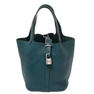 Hermes Malachite Clemence Leather Picotin Lock 18 Bag