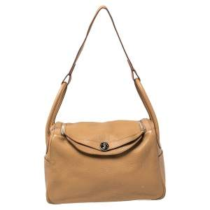 Hermes Tabac Camel Clemence Leather Palladium Hardware Lindy 34 Bag