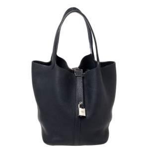 Hermes Bleu Nuit Taurillon Clemence Leather Picotin Lock 22 Bag