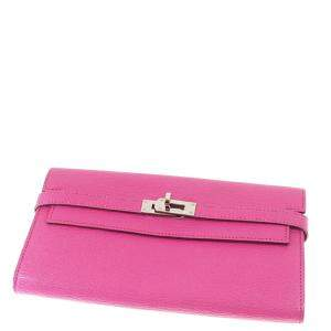 Hermes Pink Leather Kelly Wallet