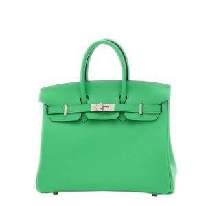 Hermes Mint Green Swift Leather Palladium Hardware Birkin 25 Bag