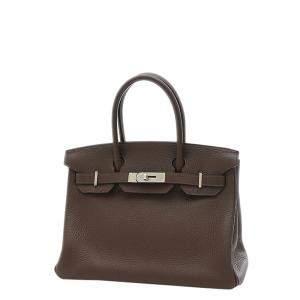 Hermes Brown/Dark Brown Clemence Leather Palladium Hardware Birkin 30 Bag