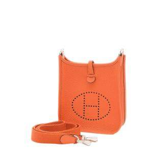Hermes Orange Clemence Leather Evelyne TPM Bag